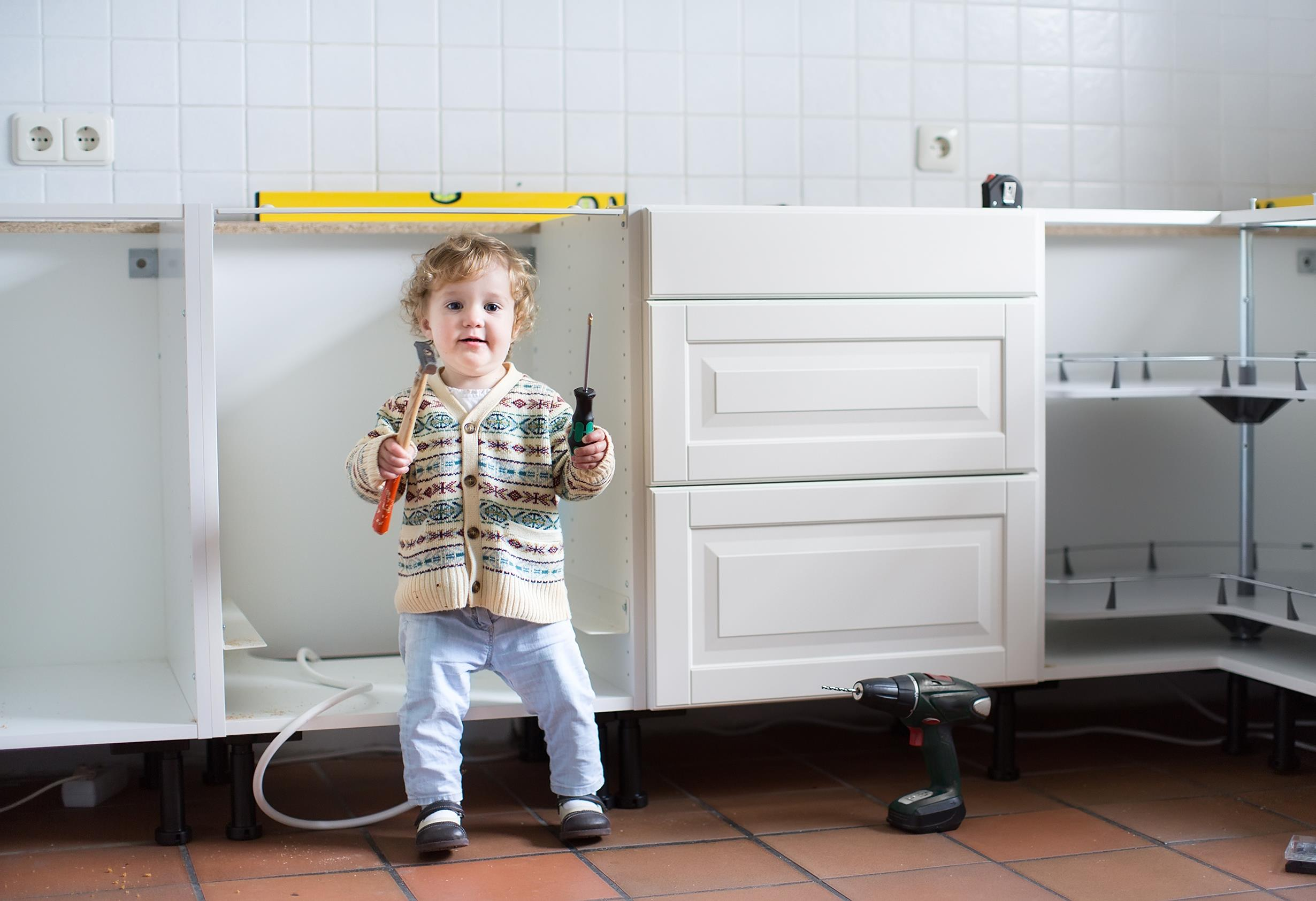 Child in Kitchen during renovation